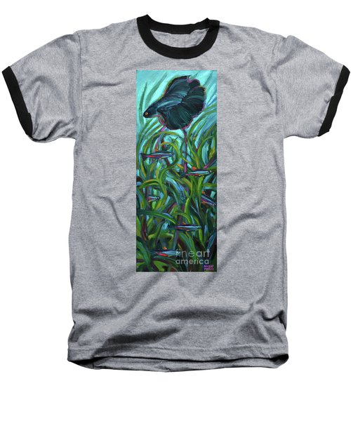 Baseball T-Shirt featuring the painting Persistent Fish Betta  by Robert Phelps