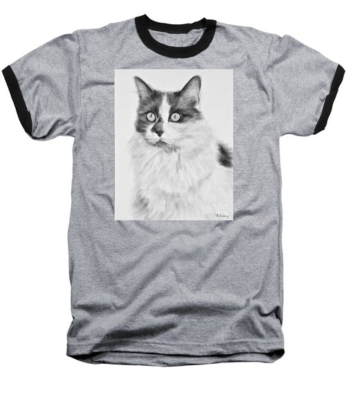 Pet Cat Drawing Olivia Baseball T-Shirt by Kate Sumners