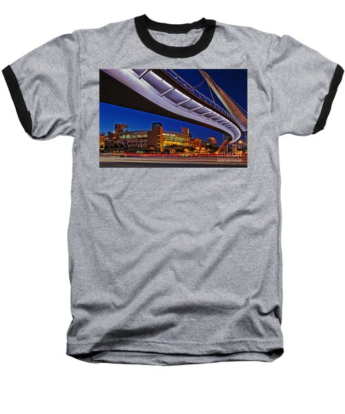 Petco Park And The Harbor Drive Pedestrian Bridge In Downtown San Diego  Baseball T-Shirt by Sam Antonio Photography