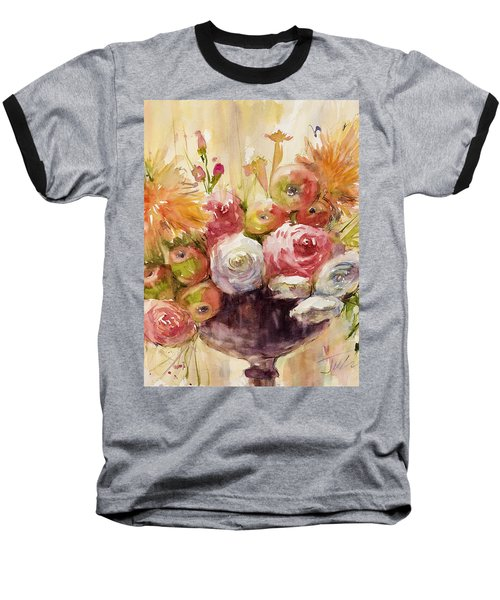 Petite Apples In Floral Baseball T-Shirt by Judith Levins