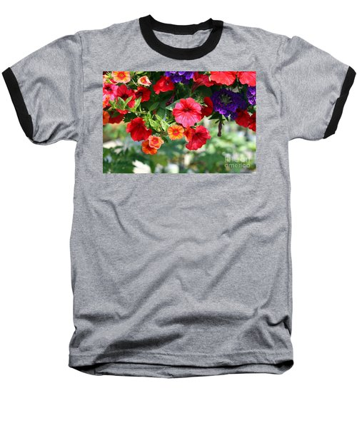 Petunias Baseball T-Shirt by Denise Pohl