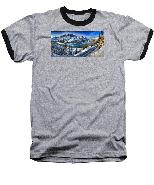 Peyto Lake Winter Panorama Baseball T-Shirt by Adam Jewell