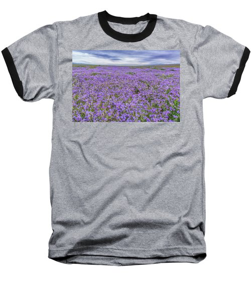 Phacelia Field And Clouds Baseball T-Shirt