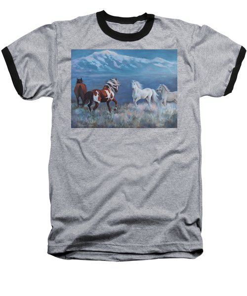 Baseball T-Shirt featuring the painting Phantom Of The Mountains by Karen Chatham
