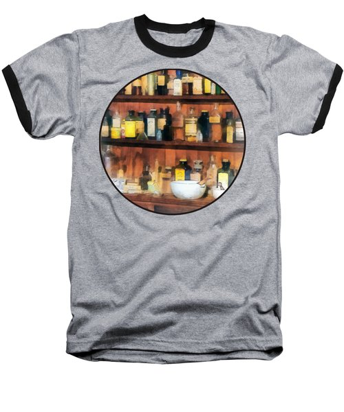 Baseball T-Shirt featuring the photograph Pharmacist - Mortar Pestles And Medicine Bottles by Susan Savad