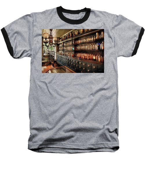 Pharmacy - So Many Drawers And Bottles Baseball T-Shirt by Mike Savad
