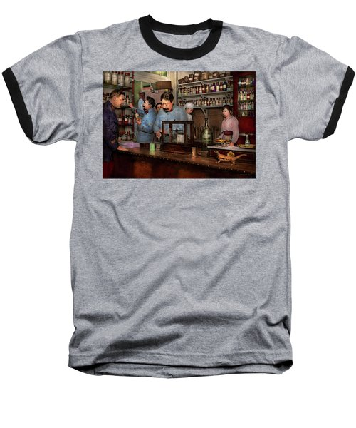 Baseball T-Shirt featuring the photograph Pharmacy - The Dispensing Chemist 1918 by Mike Savad