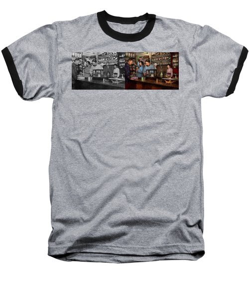 Baseball T-Shirt featuring the photograph Pharmacy - The Dispensing Chemist 1918 - Side By Side by Mike Savad