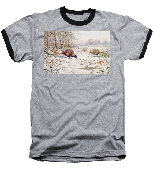 Pheasant And Partridge Eating  Baseball T-Shirt by Carl Donner