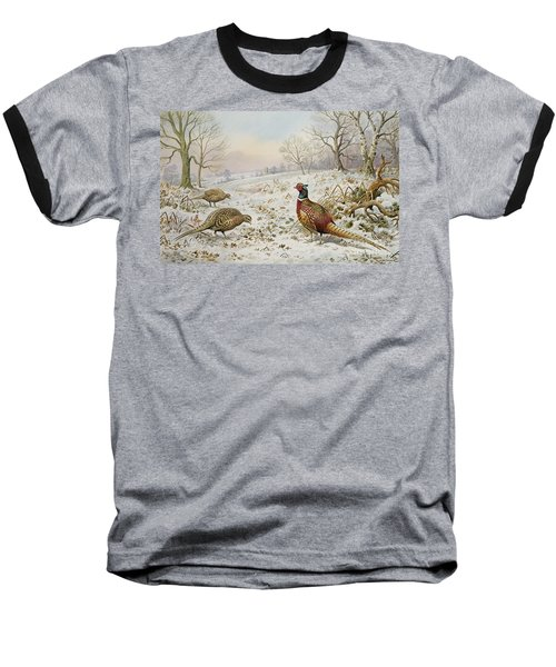 Pheasant And Partridges In A Snowy Landscape Baseball T-Shirt by Carl Donner