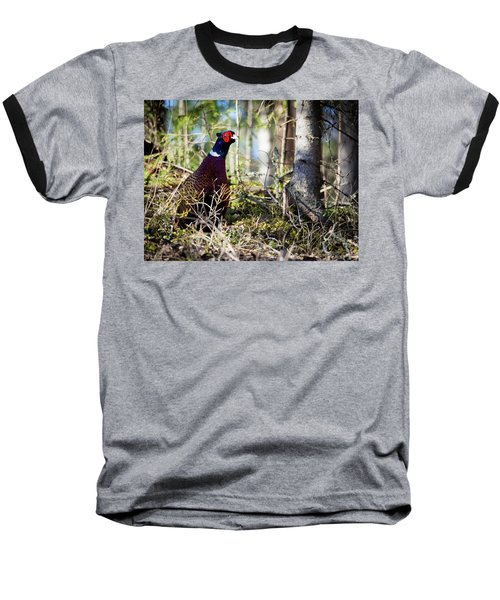 Pheasant In The Forest Baseball T-Shirt by Teemu Tretjakov