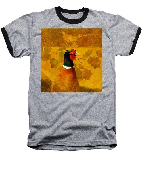 Pheasant In Yellow Baseball T-Shirt