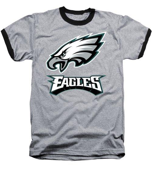 Philadelphia Eagles On An Abraded Steel Texture Baseball T-Shirt