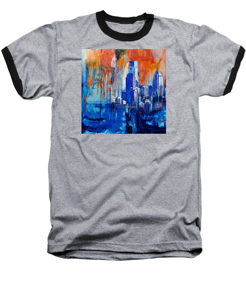 Philadelphia Skyline 227 1 Baseball T-Shirt by Mawra Tahreem