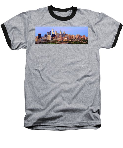Philadelphia Skyline At Dusk Sunset Pano Baseball T-Shirt by Jon Holiday