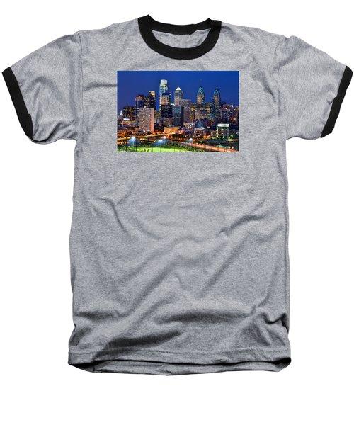 Philadelphia Skyline At Night Baseball T-Shirt
