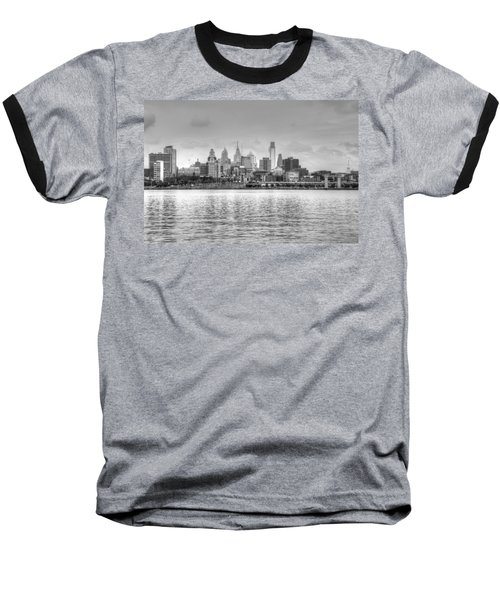 Philadelphia Skyline In Black And White Baseball T-Shirt by Jennifer Ancker