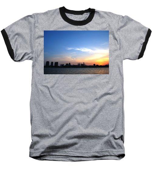 Philadelphia Skyline Low Horizon Sunset Baseball T-Shirt