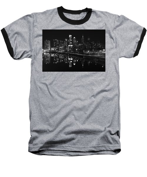 Philly And The Schuylkill Bw Baseball T-Shirt by Jennifer Ancker