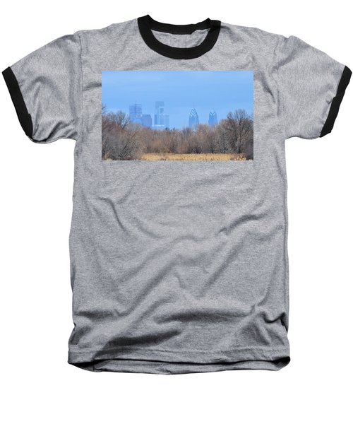 Philly From Afar Baseball T-Shirt by Kathy Eickenberg