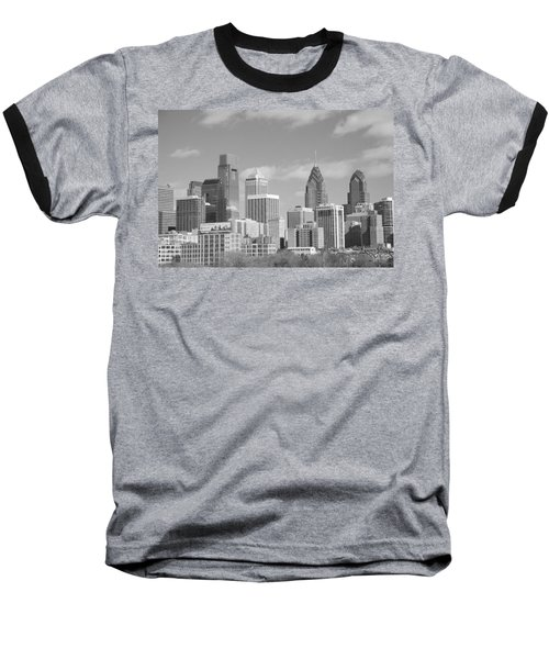 Philly Skyscrapers Black And White Baseball T-Shirt by Jennifer Ancker
