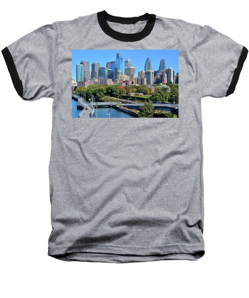 Baseball T-Shirt featuring the photograph Philly With Walking Trail by Frozen in Time Fine Art Photography