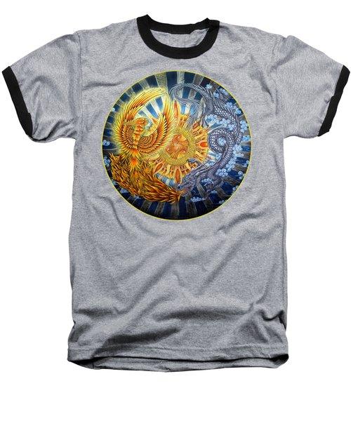 Phoenix And Dragon Baseball T-Shirt by Rebecca Wang