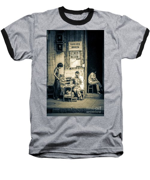 Baseball T-Shirt featuring the photograph Phonecall On Chinese Street by Heiko Koehrer-Wagner