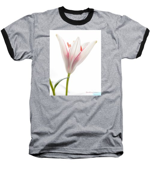 Baseball T-Shirt featuring the photograph Photograph Of A Pale Lily Opening I by David Perry Lawrence