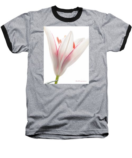 Baseball T-Shirt featuring the photograph Photograph Of A Pale Lily Opening II by David Perry Lawrence