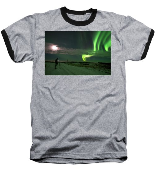 Baseball T-Shirt featuring the photograph Photographer Under The Northern Light by Dubi Roman