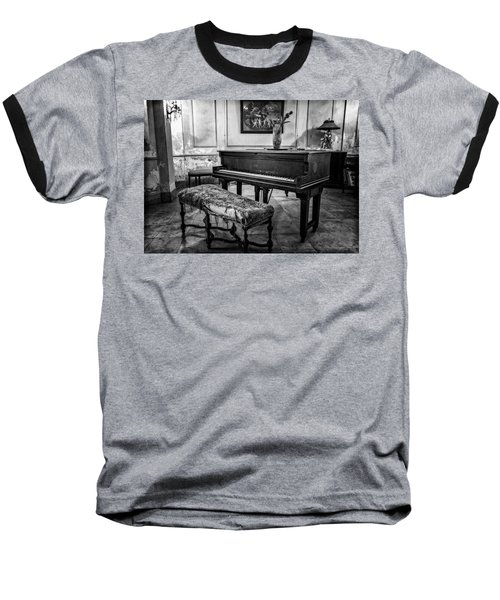 Baseball T-Shirt featuring the photograph Piano At Josie's House Bw by Joan Carroll
