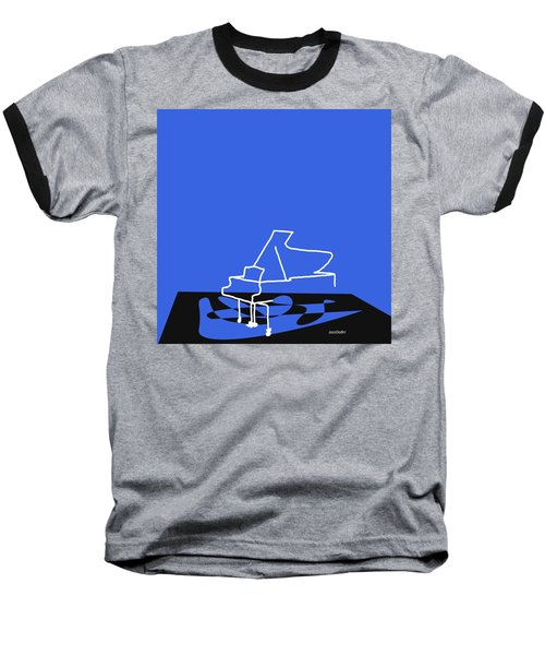 Piano In Blue Baseball T-Shirt by David Bridburg
