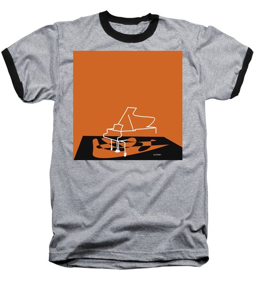 Piano In Orange Baseball T-Shirt by David Bridburg