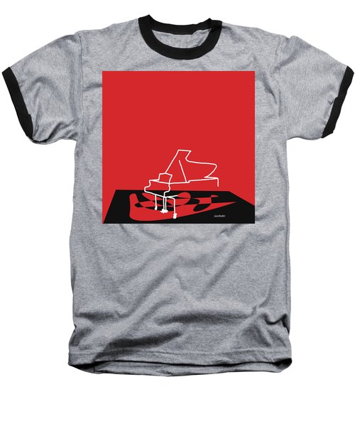 Piano In Red Baseball T-Shirt by David Bridburg