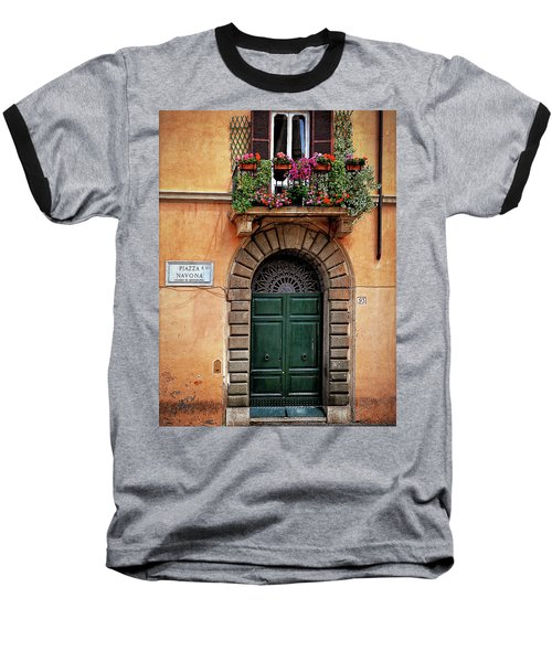 Baseball T-Shirt featuring the photograph Piazza Navona House by Marion McCristall