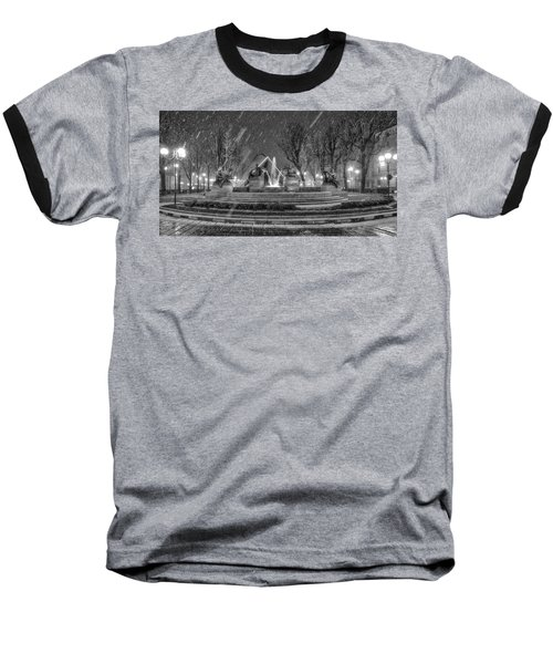 Baseball T-Shirt featuring the photograph Piazza Solferino In Winter-1 by Sonny Marcyan