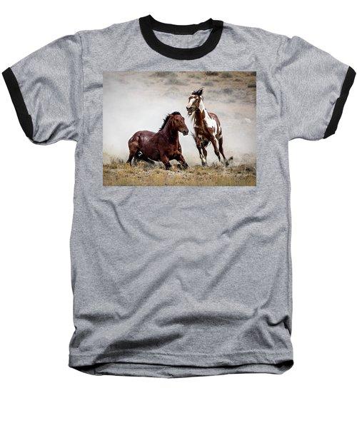 Picasso - Wild Stallion Battle Baseball T-Shirt by Nadja Rider