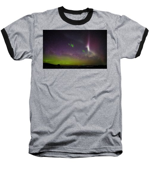 Picket Fences And Proton Arc, Aurora Australis Baseball T-Shirt by Odille Esmonde-Morgan