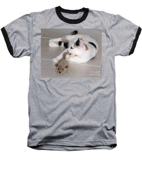 Baseball T-Shirt featuring the photograph Pico And Toy Mouse by Phyllis Kaltenbach