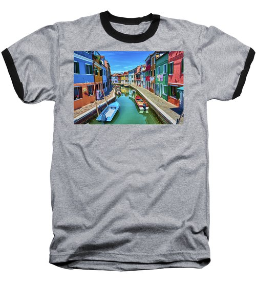 Picturesque Buildings And Boats In Burano Baseball T-Shirt