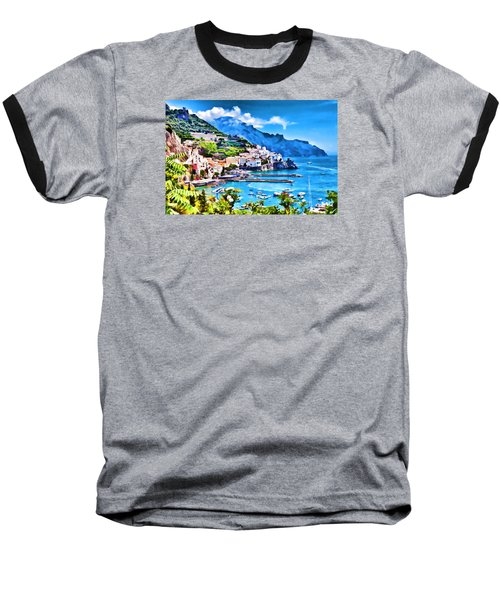 Picturesque Italy Series - Amalfi Baseball T-Shirt by Lanjee Chee