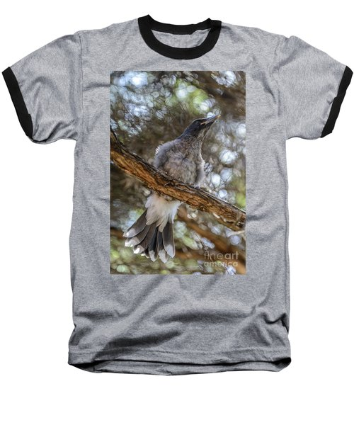 Pied Currawong Chick 1 Baseball T-Shirt