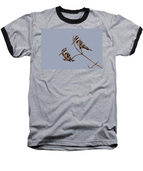 Pied Kingfisher Pair Baseball T-Shirt