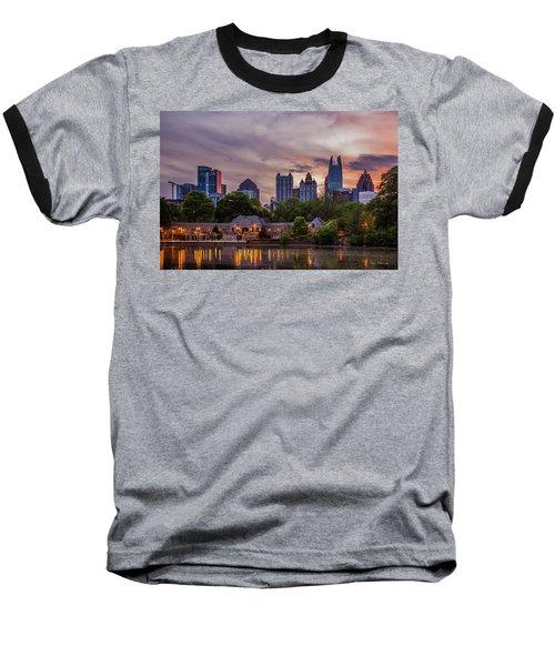 Baseball T-Shirt featuring the photograph Piedmont Park Midtown Atlanta Sunset Art by Reid Callaway
