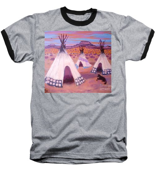 Piegan Indian Tipis Baseball T-Shirt by Suzanne McKay