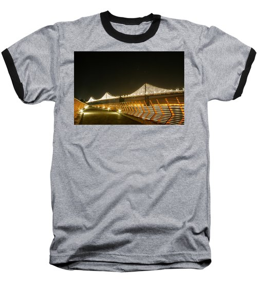 Pier 14 And Bay Bridge Lights Baseball T-Shirt