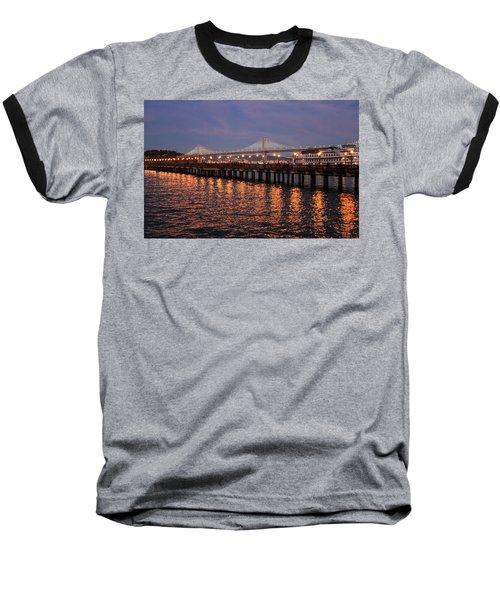 Pier 7 And Bay Bridge Lights At Sunset Baseball T-Shirt