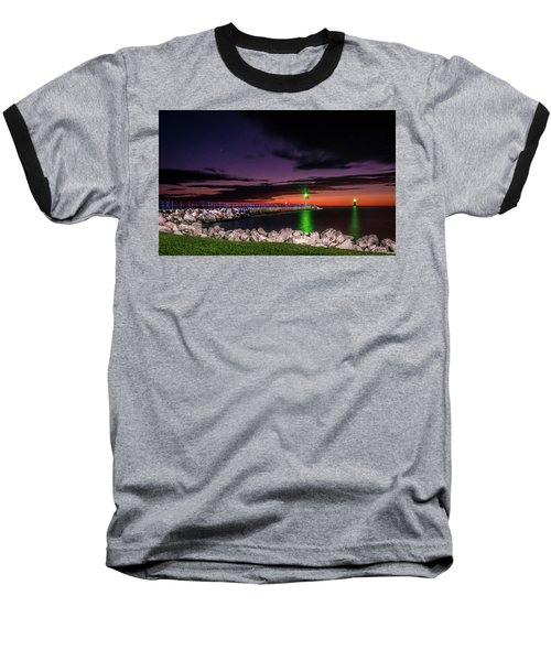 Pier And Lighthouse Baseball T-Shirt