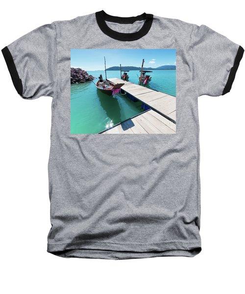 Baseball T-Shirt featuring the photograph Pier At Khanom by Atiketta Sangasaeng